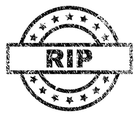 RIP stamp seal watermark with distress style. Designed with rectangle, circles and stars. Black vector rubber print of RIP text with scratched texture.