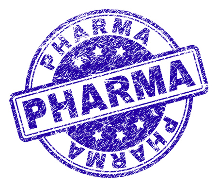 PHARMA stamp seal imprint with distress texture. Designed with rounded rectangles and circles. Blue vector rubber print of PHARMA text with scratched texture.
