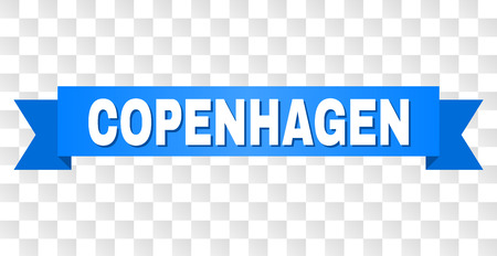 COPENHAGEN text on a ribbon. Designed with white caption and blue stripe. Vector banner with COPENHAGEN tag on a transparent background.