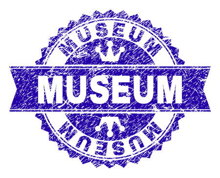 MUSEUM rosette stamp overlay with grunge style. Designed with round rosette, ribbon and small crowns. Blue vector rubber print of MUSEUM tag with dirty style.