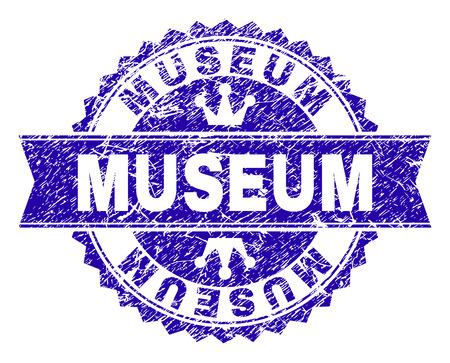 Sovrapposizione di timbro rosetta MUSEO con stile grunge. Progettato con rosetta rotonda, nastro e piccole corone. Stampa in gomma blu vettoriale dell'etichetta MUSEUM con stile sporco.