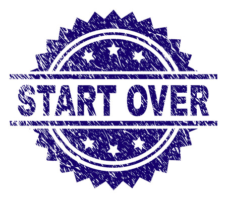 START OVER stamp seal watermark with distress style. Blue vector rubber print of START OVER caption with grunge texture.