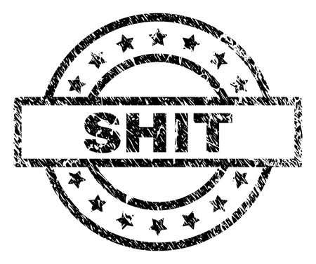 SHIT stamp seal watermark with distress style. Designed with rectangle, circles and stars. Black vector rubber print of SHIT title with corroded texture.
