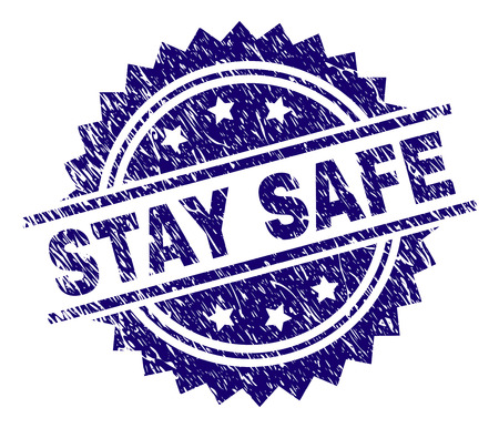 STAY SAFE stamp seal watermark with distress style. Blue vector rubber print of STAY SAFE label with unclean texture.