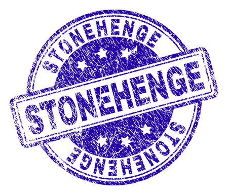 STONEHENGE stamp seal watermark with grunge effect. Designed with rounded rectangles and circles. Blue vector rubber print of STONEHENGE caption with grunge texture.