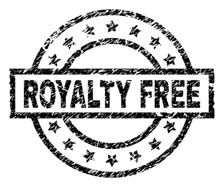 ROYALTY FREE stamp seal watermark with distress style. Designed with rectangle, circles and stars. Black vector rubber print of ROYALTY FREE text with dust texture.