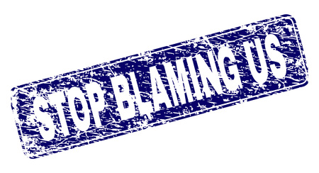 STOP BLAMING US stamp seal watermark with grunge texture. Seal shape is a rounded rectangle with frame. Blue vector rubber print of STOP BLAMING US label with grunge texture.
