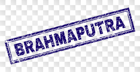 BRAHMAPUTRA stamp seal watermark with distress style and double framed rectangle shape. Stamp is placed on a transparent background. Blue vector rubber print of BRAHMAPUTRA label with unclean texture.