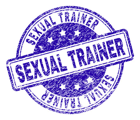 SEXUAL TRAINER stamp seal imprint with grunge texture. Designed with rounded rectangles and circles. Blue vector rubber print of SEXUAL TRAINER caption with grunge texture.
