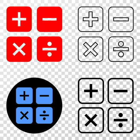 Calculator vector pictograph with contour, black and colored versions. Illustration style is flat iconic symbol on chess transparent background.