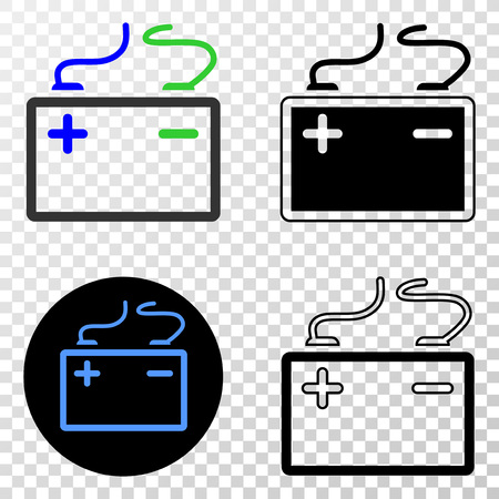Accumulator battery EPS vector pictograph with contour, black and colored versions. Illustration style is flat iconic symbol on chess transparent background. Vettoriali
