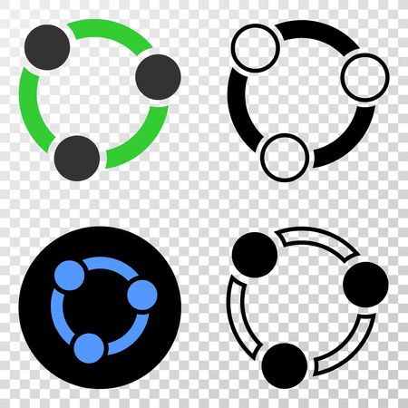 Collaboration EPS vector icon with contour, black and colored versions. Illustration style is flat iconic symbol on chess transparent background.