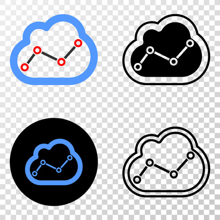Chart cloud EPS vector pictograph with contour, black and colored versions. Illustration style is flat iconic symbol on chess transparent background.