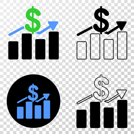 Dollar trends EPS vector pictograph with contour, black and colored versions. Illustration style is flat iconic symbol on chess transparent background.