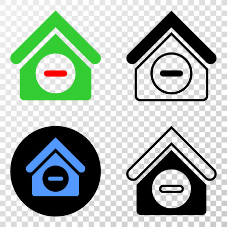 Forbidden house EPS vector icon with contour, black and colored versions. Illustration style is flat iconic symbol on chess transparent background.