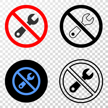 Forbidden repair vector pictogram with contour, black and colored versions. Illustration style is flat iconic symbol on chess transparent background. Ilustrace