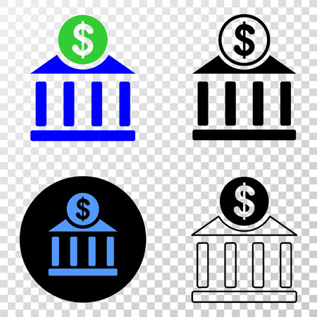 Dollar bank office EPS vector pictograph with contour, black and colored versions. Illustration style is flat iconic symbol on chess transparent background. Illustration