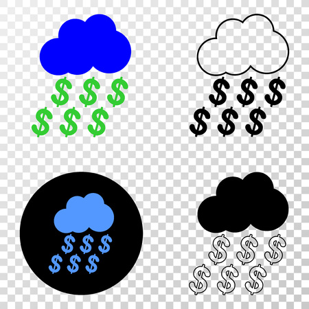 Dollar rain cloud  vector pictograph with contour, black and colored versions. Illustration style is flat iconic symbol on chess transparent background.