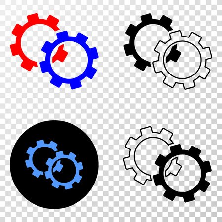 Gears vector icon with contour, black and colored versions. Illustration style is flat iconic symbol on chess transparent background.