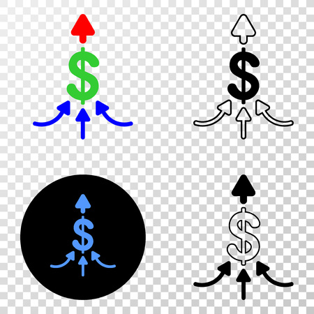 Payment aggregator EPS vector icon with contour, black and colored versions. Illustration style is flat iconic symbol on chess transparent background.