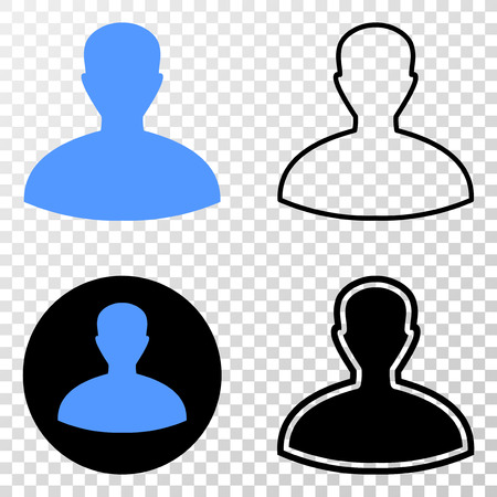 Person EPS vector pictograph with contour, black and colored versions. Illustration style is flat iconic symbol on chess transparent background.