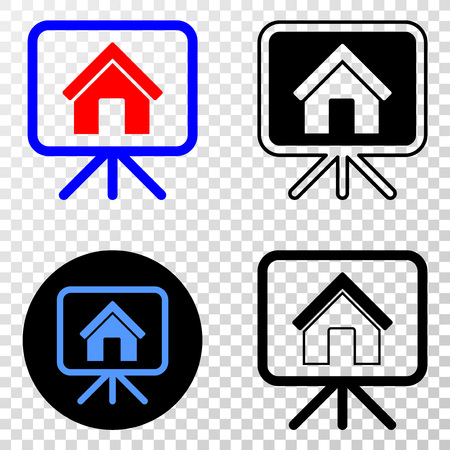 House project board EPS vector pictograph with contour, black and colored versions. Illustration style is flat iconic symbol on chess transparent background.