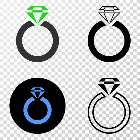 Jewelry ring vector pictograph with contour, black and colored versions. Illustration style is flat iconic symbol on chess transparent background. Illustration