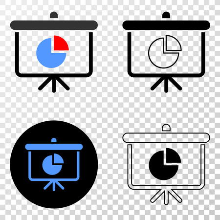Pie chart demonstration board EPS vector pictograph with contour, black and colored versions. Illustration style is flat iconic symbol on chess transparent background.