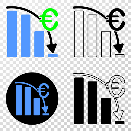 Euro crisis chart EPS vector icon with contour, black and colored versions. Illustration style is flat iconic symbol on chess transparent background.