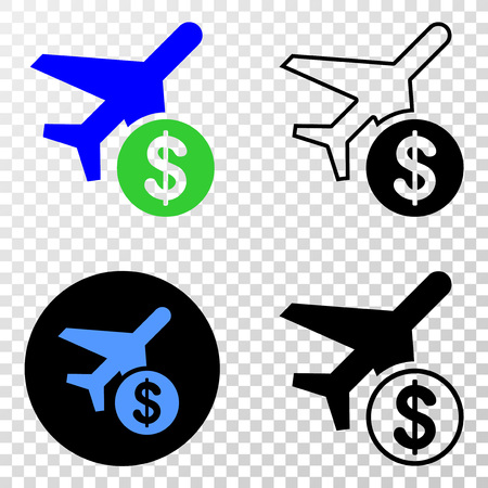 Airplane price EPS vector icon with contour, black and colored versions. Illustration style is flat iconic symbol on chess transparent background.
