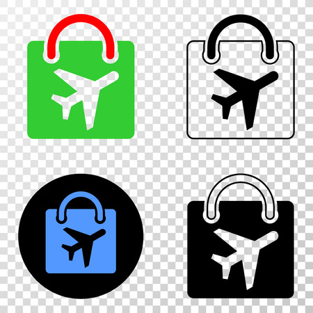 Airport shopping bag vector pictograph with contour, black and colored versions. Illustration style is flat iconic symbol on chess transparent background.