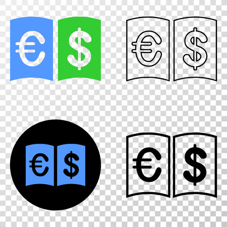 Currency handbook vector icon with contour, black and colored versions. Illustration style is flat iconic symbol on chess transparent background.