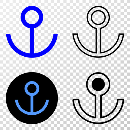 Anchor EPS vector pictogram with contour, black and colored versions. Illustration style is flat iconic symbol on chess transparent background. Vettoriali