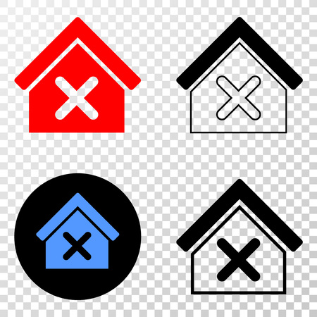 Closed house EPS vector pictograph with contour, black and colored versions. Illustration style is flat iconic symbol on chess transparent background. Иллюстрация