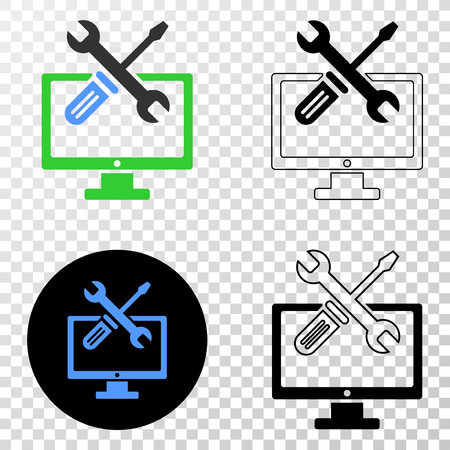 Desktop options vector pictogram with contour, black and colored versions. Illustration style is flat iconic symbol on chess transparent background.