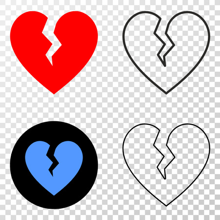 Broken heart EPS vector icon with contour, black and colored versions. Illustration style is flat iconic symbol on chess transparent background.