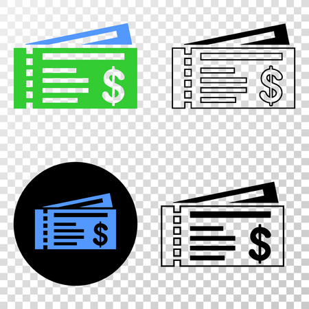 Dollar cheques EPS vector icon with contour, black and colored versions. Illustration style is flat iconic symbol on chess transparent background. Ilustração