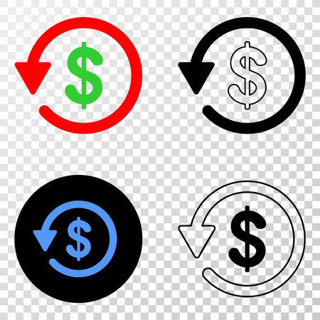 Dollar refund vector pictogram with contour, black and colored versions. Illustration style is flat iconic symbol on chess transparent background.