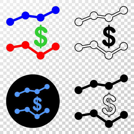 Dollar trend charts vector pictogram with contour, black and colored versions. Illustration style is flat iconic symbol on chess transparent background.