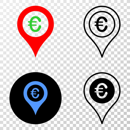 Euro map marker EPS vector icon with contour, black and colored versions. Illustration style is flat iconic symbol on chess transparent background. Vettoriali