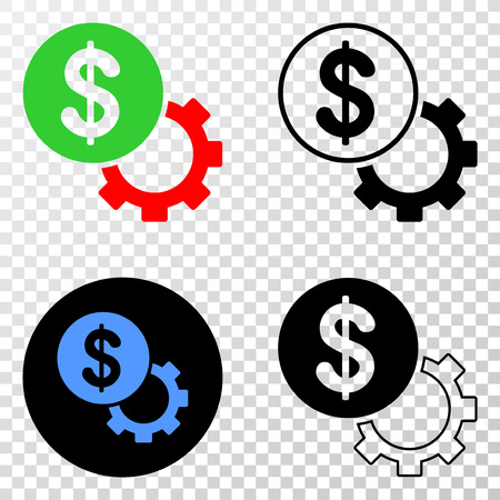 Financial options gear EPS vector pictogram with contour, black and colored versions. Illustration style is flat iconic symbol on chess transparent background.