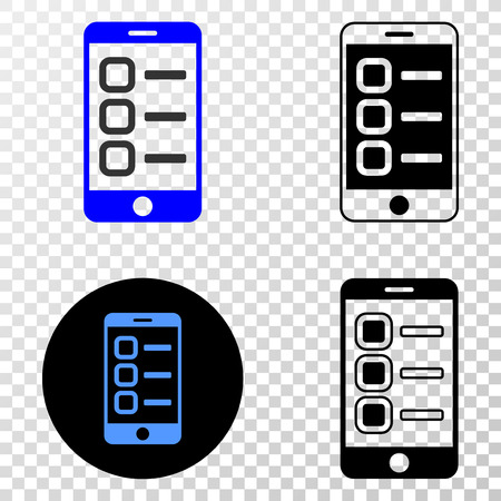 Smartphone tasks vector pictograph with contour, black and colored versions. Illustration style is flat iconic symbol on chess transparent background.