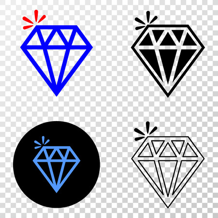 Icône vectorielle brillante d'étincelle avec versions contour, noir et couleur. Le style d'illustration est un symbole iconique plat sur fond transparent d'échecs. Vecteurs
