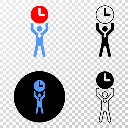 Time manager vector pictogram with contour, black and colored versions. Illustration style is flat iconic symbol on chess transparent background.
