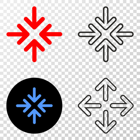 Meeting point arrows vector icon with contour, black and colored versions. Illustration style is flat iconic symbol on chess transparent background.