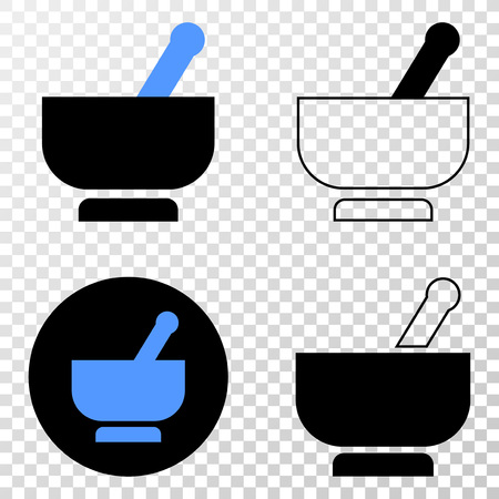 Mortar EPS vector pictograph with contour, black and colored versions. Illustration style is flat iconic symbol on chess transparent background.