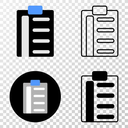 Pad list items EPS vector pictograph with contour, black and colored versions. Illustration style is flat iconic symbol on chess transparent background.