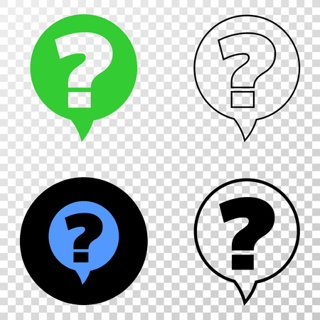 Question banner vector pictogram with contour, black and colored versions. Illustration style is flat iconic symbol on chess transparent background.