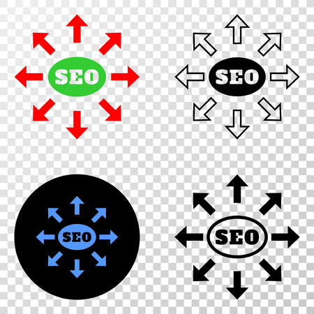 Seo distribution arrows EPS vector icon with contour, black and colored versions. Illustration style is flat iconic symbol on chess transparent background.