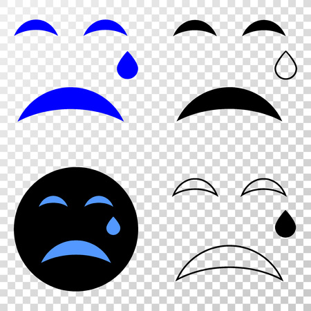 Tear smiley EPS vector pictograph with contour, black and colored versions. Illustration style is flat iconic symbol on chess transparent background.
